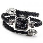 O.R.® (Old Rubin) Montre Bracelet Quartz Tresse Cuir Femme véritable tressé watch noir Cadeau Mode Bijoux Wrist Watch